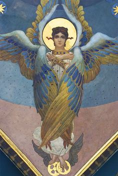 Seraphim with six wings veiling themselves in the Presence Religious Icons, Religious Art, Seraph Angel, Seraphin, Guardian Angels, Angels And Demons, Orthodox Icons, Angel Art, Russian Art