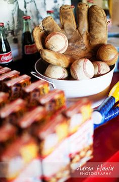 baseball party ideas - serve hotdogs for dinner & cracker jacks for favors. :) Maybe make some baseball sugar cookies instead of cupcakes? @Sean Glass Leacy I like this idea.