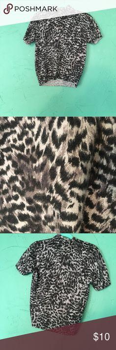 Kasper lightweight mock neck sweater Black and white leopard print sweater from Kasper.   Made of a lambs wool blend.   Gently worn. Kasper Sweaters