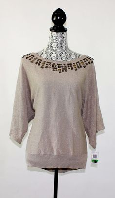 JM Collection Womens Sweater Size L Beige Gold Bead Embellished Knit Top NWD #JMCollection #ScoopNeck