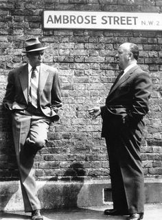 James Stewart and Alfred Hitchcock during the filming of The Man Who Knew Too Much in London, 1956