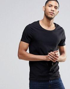 ASOS – Schwarzes Stretch-Muskelshirt mit U-Ausschnitt