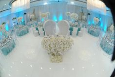 icy blue and white reception.