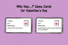 Speech Therapy Ideas: Who Has...? Game Cards for Valentine's Day. Pinned by SOS Inc. Resources. Follow all our boards at pinterest.com/sostherapy/ for therapy resources.