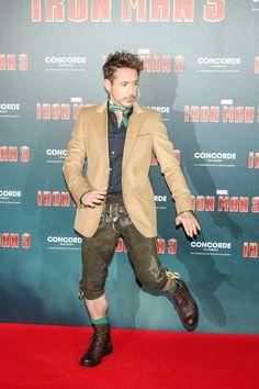 Robert Downey Jr. wears lederhosen to Iron Man 3 Red Carpet, April 2013 and looks stunning!