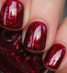 Perfect dark sparkly red - so festive. via purrrpolish ~: Essie - Leading Lady Need this for Christmas!