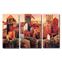 Charming City Buildings Oil Painting-Set of 3- Free Shipping