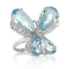 My Topaz and Diamond Butterfly Ring Butterfly Ring, Butterfly Shape, Butterfly Jewelry, Diamond Jewelry, Jewelry Rings, Fine Jewelry, Jewellery, White Topaz, Blue Topaz