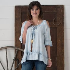 Cedar Creek Ruffle Top- The Cedar Creek Ruffle top is sure to be a hit out on the town