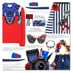 """""""Red, White and Blue Fashion"""" by bibibaubau ❤ liked on Polyvore featuring Dolce&Gabbana, Gucci, Arche, STELLA McCARTNEY, Bling Jewelry, Anna-Karin Karlsson, NARS Cosmetics, Estée Lauder, Captain Blankenship and Eos"""