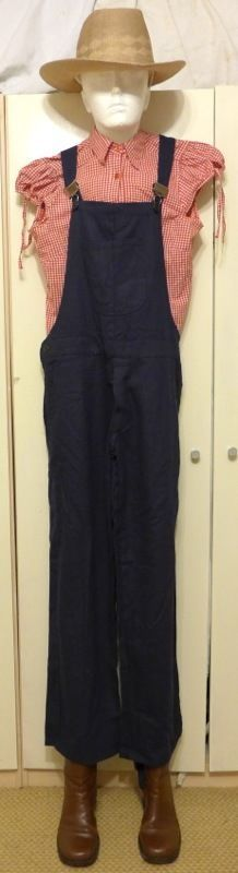 LADIES FARMER HILLBILLY BIB & BRACE DUNGAREES OVERALLS COSTUME OUTFIT SIZE 10