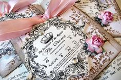antique inspired gift tag with pink ribbon