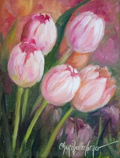 Pink Tulips in field of pink, orange, and yellow tulips. Original Oil Painting on wrap around Canvas Edges of canvas are painted black so it can be hung without framing. Hanging hardware is installed on the painting.