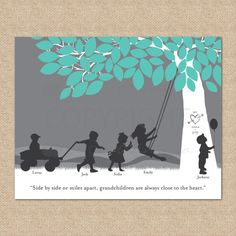 Gift for Grandparents, Personalized Silhouette Print with Nana and Grandpa's grandchildren // You Choose Print Size & Type // Holiday Gifts, Christmas Gifts, Merry Christmas, Silhouette Art, Silhouette Projects, Grandchildren, Grandkids, Xmas Presents, Grandparent Gifts