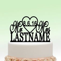 Black Wedding Cake Toppers Mr And Mrs Heart Personalized Custom Date Name