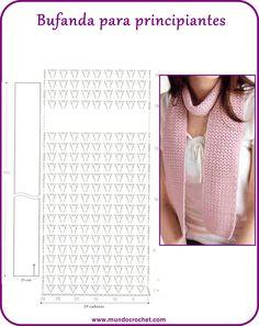 Bufanda crochet fácil, Bufanda crochet principiantes