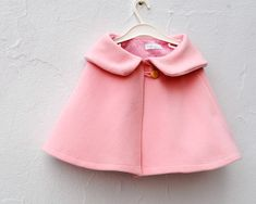 Girls Cape in Pink Wool - Kids Shrug Capelet with Peter Pan Collar Size 3T to 5T - Spring Fashion (Ready to Ship). via Etsy.