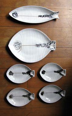 La Gardo Tackett and Kenji Fujita; Glazed Ceramic Dishes, 1950s.