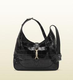 jackie black crocodile shoulder bag