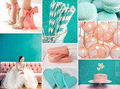 aqua and pink wedding inspiration board
