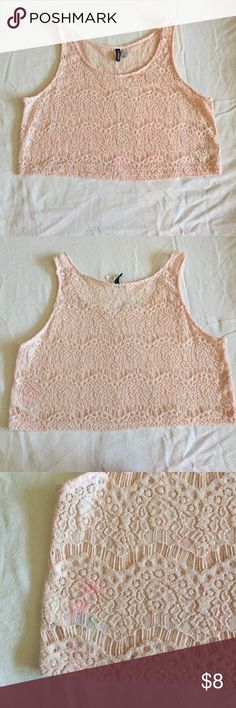 Lace Crop Top Never worn. I purchased this top without knowing there were pink stains as pictured in photos 3 & 4. Still cute though and barely able to see! Fits like a small or medium. H&M Tops Crop Tops