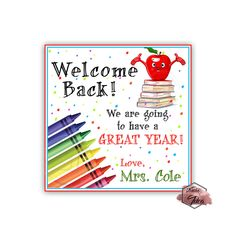 Items similar to Custom Welcome Back to School Printable Labels-Tags- Back to school Stickers - Personalized Scallop Tags-YOU PRINT on Etsy Printable Labels, Printables, Sticker Paper, Stickers, Welcome Back To School, Circle Punch, School Themes, I School, Etsy Seller