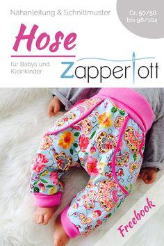 Kostenlose Nähanleitung für eine Hose für Babys und Kleinkinder mit Windelpope. Schnittmuster Hose Zapperlott jetzt neu bei farbenmix