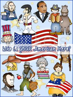 American hero poster, American icons, American clip art, heroes, USA clip art, famous people clip art, DJ Inkers