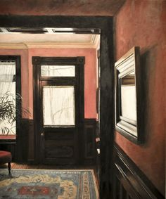 2nd street oil on panel, 24x20 a painting of a townhouse in troy, NY...I love the mahogany in this room.