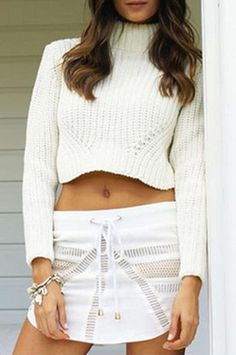 2647d3cffd White Cropped Cowl Neck Sweater Womens Clothing Stores