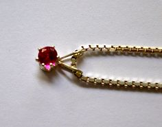 Round Natural Red Ruby Pendant  4mm Set in Silver by ESTATENOW, $27.50