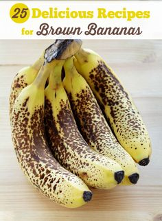 Delicious Recipes for Brown Bananas 25 Delicious Recipes for Brown Bananas - Got brown bananas? Use them up in these recipe Delicious Recipes for Brown Bananas - Got brown bananas? Use them up in these recipe ideas! Fruit Recipes, Sweet Recipes, Dessert Recipes, Cooking Recipes, Baking Desserts, Cake Baking, Cooking Ham, Cooking Ribs, Healthy Recipes