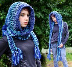 Hood Scarf cowl shawl blue by HookedWear on Etsy Crochet Hooded Scarf, Crochet Hoodie, Crochet Beanie, Crochet Scarves, Crochet Shawl, Knitted Hats, Knit Crochet, Crochet Skirts, Arm Knitting