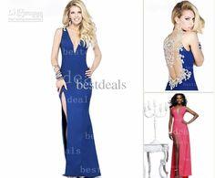 Wholesale Prom Dresses - Buy New Arrival Evening Dresses V Neck Rhinestone & Crystal Beaded Glitz Royal Side Slit Formal Prom Clothes TE 92205, $153.47 | DHgate