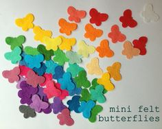 25 mini felt butterflies 40 colours by bettyoctopus on Etsy Shops, Butterflies, Felt, Colours, Mini, Etsy, Tents, Felting, Butterfly