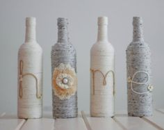 Home wine bottle set. Decorated wine bottle by WineCraftCreations