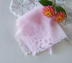 Vintage Bride's Hankie in Pale Pink Antique Wedding Handkerchief Something Old