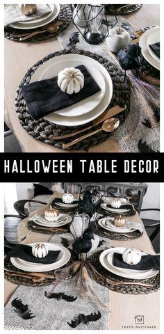 Black and White Halloween Table Decorations - Taryn Whiteaker