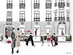 FERRAGAMO, Paris - Illustration - Framed Limited Edition Print – Tiffany La Belle