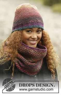 Eventide / DROPS 172-43 - Set consists of: Knitted DROPS neck warmer and hat with colour pattern in Big Delight.