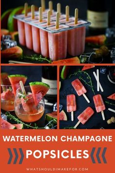 Boozy, frozen champagne popsicles for the summertime win! These pink beauties are made with watermelon (strawberry would work too) and are part cocktail, part ice pops! #whatshouldimakefor #champagnepopsicles #boozyicepops #summertimecocktails #boozypops #icepops Easy Summer Meals, Healthy Summer Recipes, Easy Dinner Recipes, Vegetarian Recipes, Easy Meals, Yummy Recipes, Dessert Recipes, Healthy Family Dinners, Quick Weeknight Meals