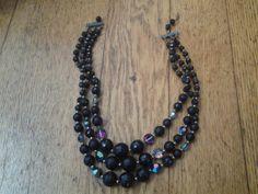 Pretty Glass Beaded 3 Strand Choker Necklace by EastIdahoCompany, $9.99