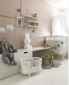 A gorgeous bedroom by Miffy lamp and String Pocket shelf available online Baby Bedroom, Nursery Room, Boy Room, Girls Bedroom, Room Kids, Childrens Room Decor, Baby Room Decor, Taupe Nursery, Toddler Rooms