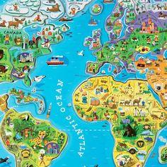 magneetpuzzel wereldkaart (92st) | janod