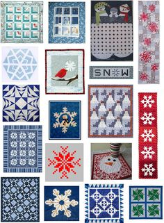 Quilt Inspiration: Free pattern day: Snowmen and snowflakes - table runners, wall hangings, and quilts!