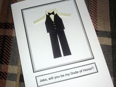 Customize Personalize Will you be my Ring Bearer Bridesman Dude of Honor Groomsman Best man  wedding invite Handmade card by arleendesign