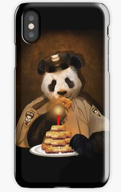 Police Panda iPhone Cases & Skins #iphonecase #iphonex #case #painting #digital #oil #popart #animal #bear #pandas #pandabear  #humor #cute #parody #birthday #pandalover #china #bamboo #baby #panda #lol #retro #pandaface #police