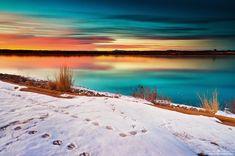 The Visitors by kkart.deviantart.com on @deviantART. Photography, snow, lake, deer tracks, sunrise.