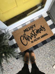 Charisma's door mats - house ideas - Merry Little Christmas, Cozy Christmas, Country Christmas, Holiday Fun, Front Door Mats, Diy Door Mats, Outside Door Mats, Cute Door Mats, Merry Christmas
