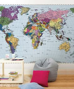 Large World Map Mural
